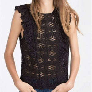 Zara Woman Lace Sleeveless Top with Ruffle Black M